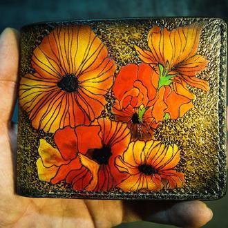 Кожаный кошелек Яркие цветы