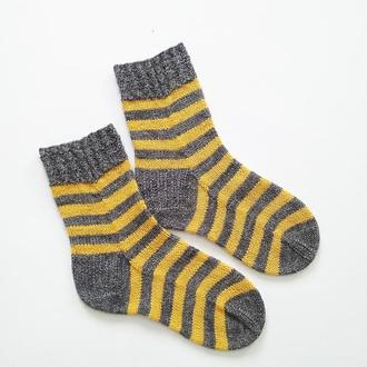 Вязаные носки В полоску (серый/оранж)