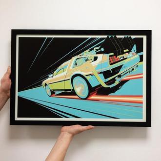 "Постер на ПВХ 3 мм. в рамке ""Назад в будущее"" (Back to the Future)"