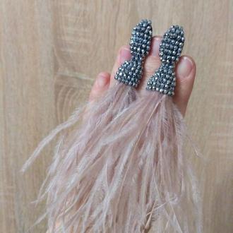 Вечерние серьги из перья нежно-розового цвета, воздушные, лёгкие аксессуары к вашему вечернему образ