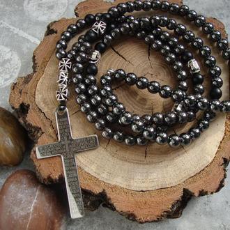 Мужской розарий из гематита со стальным крестом