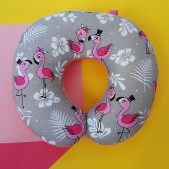 Дорожная подушка - фламинго Киев, подушка для путешествий - фламинго, подушка для шеи - фламинго