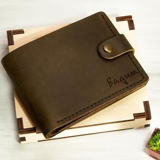 Именной кошелек с гравировкой, отделение для ID паспорта или прав, натуральная кожа