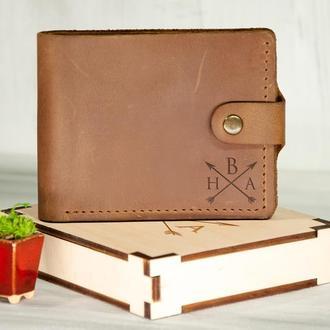 Мужской кошелек с именной гравировкой из натуральной кожи, отделение для прав или ID паспорта