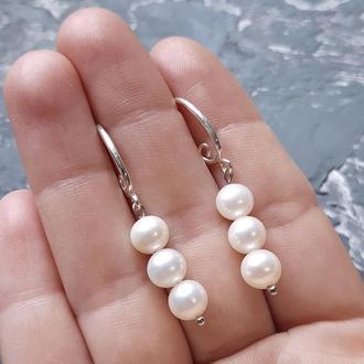 Сережки з якісних натуральних перлів у посріблені серьги с жемчугом праздничные свадебные