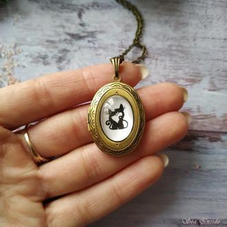 Медальон Влюбленные коты (открывается) (арт. 014)
