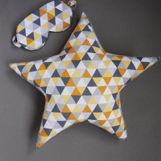 Декоративная подушка звезда геометрия, двухсторонняя подушка звезда из хлопка и плюша