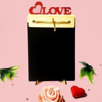 Меловая доска. Подарок девушке. Свадебный декор. Подарок на День Святого Валентина. Домашний декор