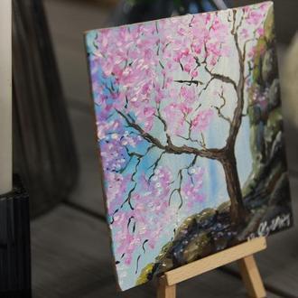 Картина маслом Миниатюра Сакура