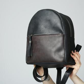 Рюкзак из натуральной кожи чёрный-коричневый