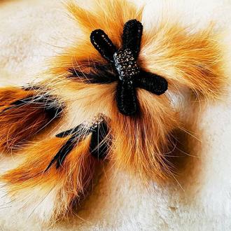 Набор   серьги и браслет мех лисы