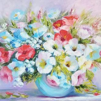 """Живопись Картина маслом цветы """"Летние впечатления"""""""