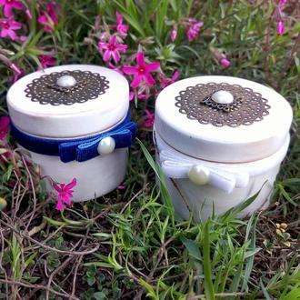 Шкатулки для свадебных колец Подушечки для подношения колец Круглаяшкатулка для обручальных колец
