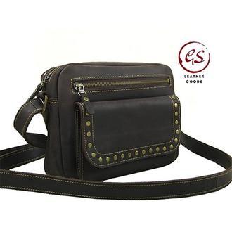Женская кожаная сумка повседневная сумка сумка через плечо коричневая