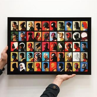 """Постер на ПВХ 3 мм. в рамке """"Все Герои Марвел"""" (Marvel Origins)"""