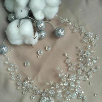 Хрустальная веточка в прическу из бусин, свадебные украшения