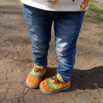 Детские вязаные мокасины Солнечные зайчики