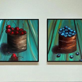 Ягоды (2 картины масло/холст) 40х40х2 см