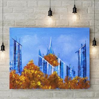 Поднебесный город (картина масло/холст) 50х60х2 см