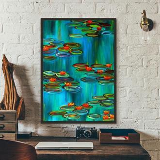 Лилии на пруду (картина масло/холст) 50х70х2 см
