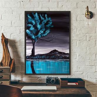 Синий пейзаж (картина масло/холст) 50х70х2 см