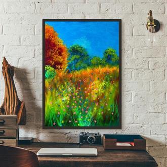 Пейзаж с цветами (картина масло/холст) 50х70х2 см