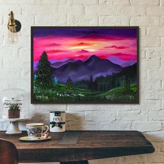 Горный пейзаж (картина масло/холст) 50х70х2 см