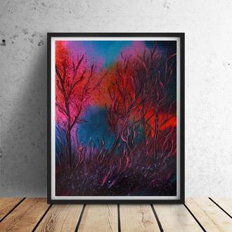 Алый лес (картина масло/холст) 50х60х2 см