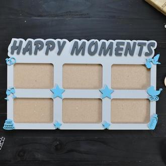 """Фоторамка """"Happy moments / Счастливые моменты"""" из дерева"""