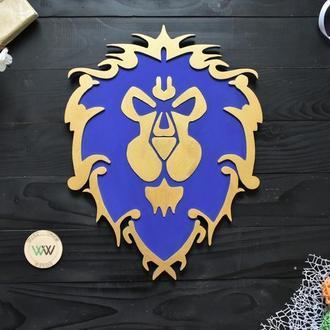 Настенный декор / панно / герб альянса / world of warcraft / подарок геймеру, из дерева