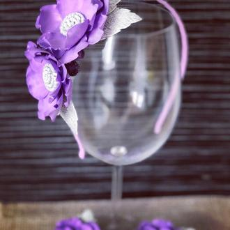 Ободки для волос + 2 резиночки-цветочка