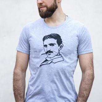 """Футболка с  вышивкой """"Никола Тесла"""""""