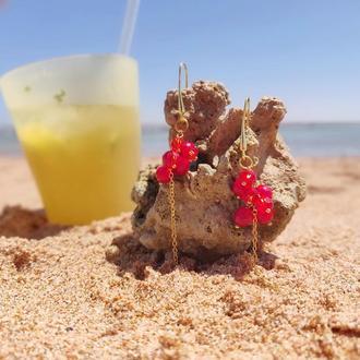 Коралловые серьги
