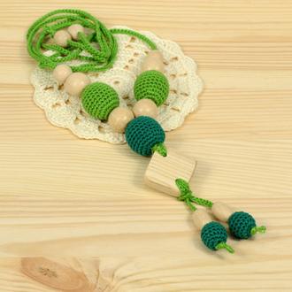 Колье вязаное. Слингобусы. Зеленые.