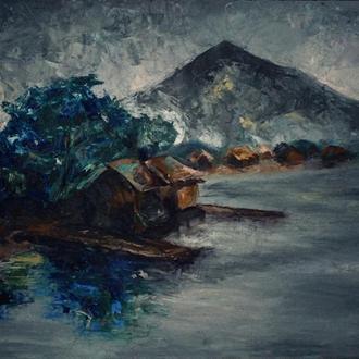 """""""У озера"""" картина маслом мастихин"""