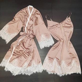 шелковый набор: халат и комбинация