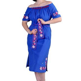 Платье из льна с крупными стеклянными бусинами, синий