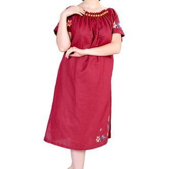 Платье из льна с крупными стеклянными бусинами, бордовое