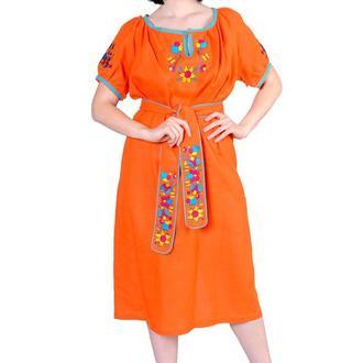 Платье из льна с хлопковым кружевом, цвет оранжевый