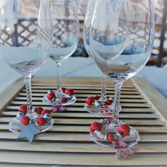 Декор для бокалів (червоний)