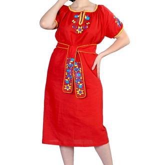 Платье из льна с хлопковым кружевом, цвет красный