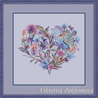 """Схема для вышивки крестом """"Васильковое сердце"""""""