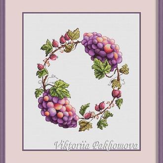 """Схема для вышивки крестом """"Венок с виноградом и крыжовником"""""""
