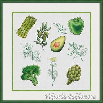 """Схема для вышивки крестом """"Green vegan sampler"""""""