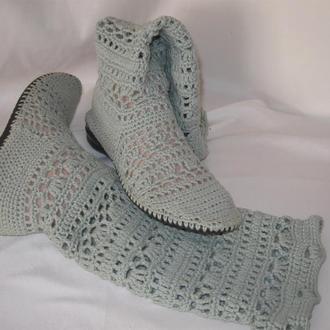 Жіночі в'язані чобітки Туман