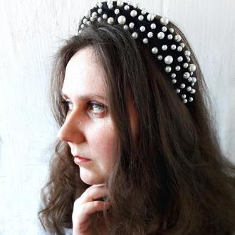 Объемный ободок с искусственным жемчугом, Черный бархатный ободок, Украшение для волос с жемчугом