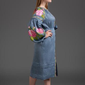 """Вишита льняна сукня """"Три троянди"""" 00118"""