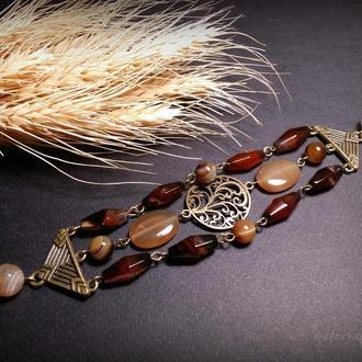 Агатовый бежевый коричневый браслет