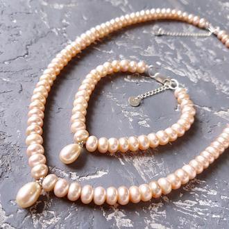 Комплект з натуральних персикових перлів намисто і браслет колье и браслет из натурального жемчуга