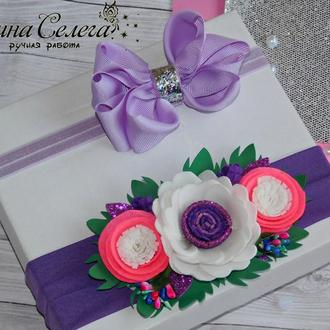 Набор повязок с бантиком и цветами , 2 шт